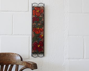 Heibi ceramic wall panel with floral décor, large mid century wall panel