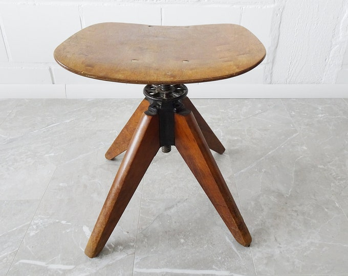 Featured listing image: height-adjustable workshop stool, Bauhaus swivel chair