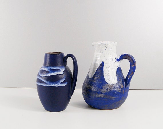 Vases Set in Blue White, Handle Vase, Jug Vase