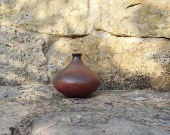 dark red ceramic vase, mid century solifleur, small ball vase