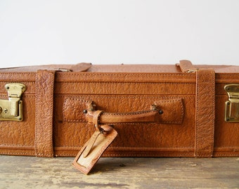 Leather case cognac colored Mid Century, travel bag