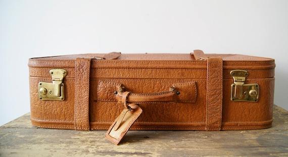 Leather case cognac colored Mid Century, travel bag
