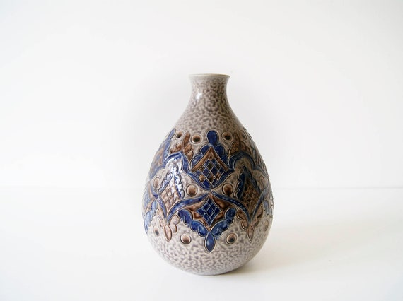 rustic vase by Marzi and Remy in grey blue with ritz décor, bulbous flower vase
