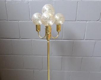 large golden floor lamp by Sölken luminaires with four glass balls, Mid Century floor lamp