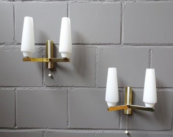 Wall lamps set of two-flame white and gold, brass wall lamps, bag lamps 50s