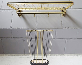 Mid Century wardrobe hallway set, wardrobe and umbrella stand 50s gold-colored