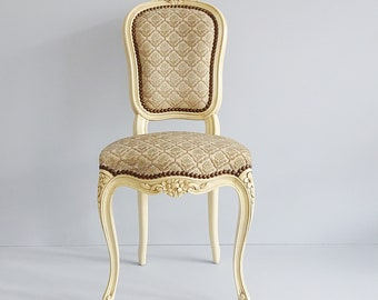 small Italian chair with carved details in antique style, upholstered children's chair, Italian fabric cover