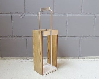 Umbrella stand made of veneered wood and metal, minimalist umbrella stand