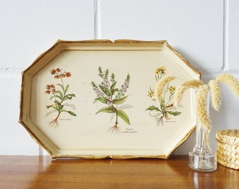 Florentine-style tray in ivory with plant species, serving table plastic