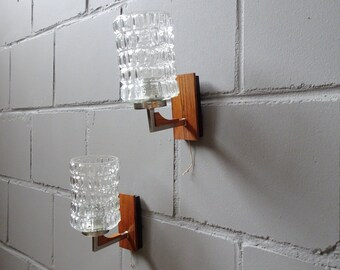Hustadt wall lamps set of walnut and glass, Mid Century wall lamps
