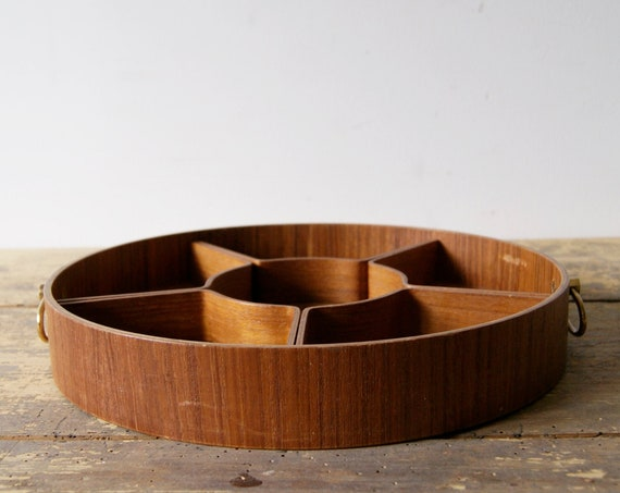 Teak tray - serving dish divided, table decoration and kitchen accessories 60s