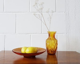Vintage glass bowl with vase in amber color