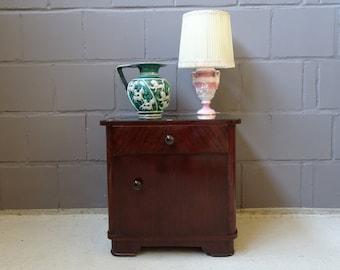 Mid Century night cabinet, small dresser, bedside table dark veneered