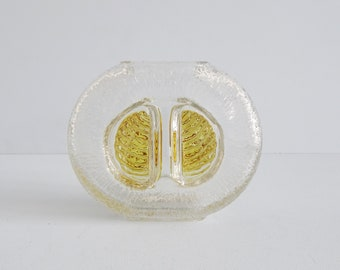 Walther Glass Vase with Relief and Ice Decor in Yellow, Glass Vase Mid Century