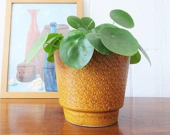 Blumentopf in senfgelb, Keramik Übertopf, Mid Century Pflanztopf