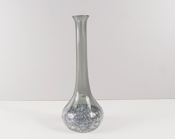 Glass vase mid century, glass art, glass vase, smoked glass, solifleur
