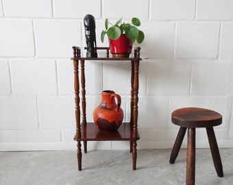 narrow wood console table with two shelves