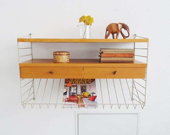 String Shelf Teak wall system with drawers and magazine storage