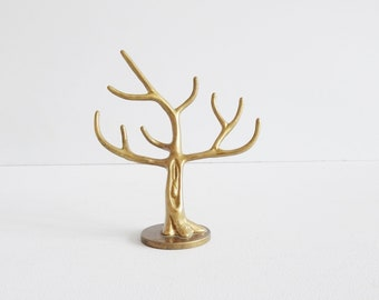 Brass Tree Jewelry Stand, Haku Solid Brass Craft Guild, Ring Holder