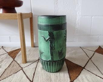 large floor vase green black, pharaohs relief vase