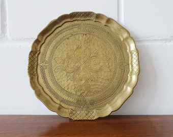 signed brass tray with Art Nouveau ornaments, plate with engraving, wall plate, serving tray