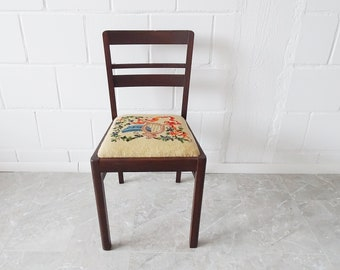 primitive wooden chair upholstered with embroidery, Mid Century upholstered chair, oak chair