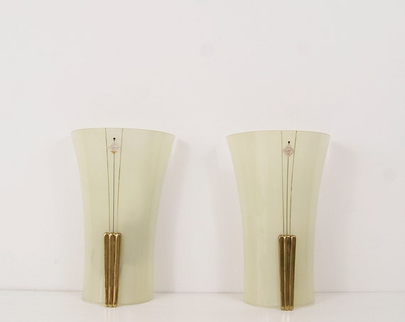 Wall sconces set by Doria Leuchten, wall sconce mid century, wall lamp glass brass