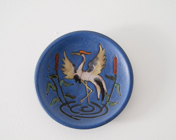 Ruscha ceramic wall plate blue purple cranes, wall ceramic mid century, picture ceramic 1950s, collection plate