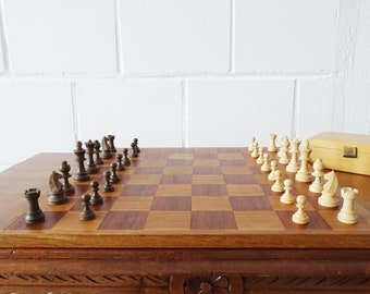 Chess game made of wood, chess board in teak and oak with figures, Mid Century board game