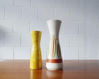Vintage Scheurich Vases Set in yellow, orange and green