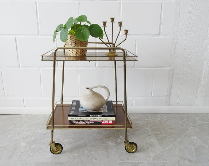 Featured listing image: Serving trolley in gold-coloured metal and resopal in dark brown or beige