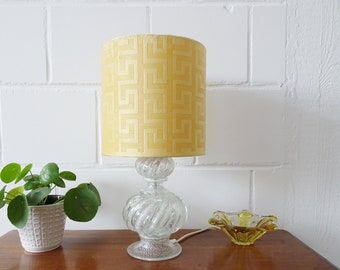 Murano glass table lamp with new lampshade in yellow, large table lamp