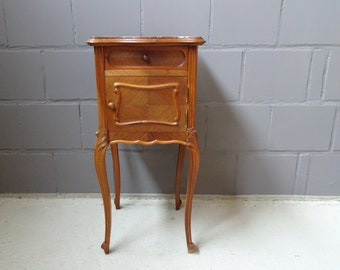antique bedside table with marble top, walnut wood night cabinet, filigree console