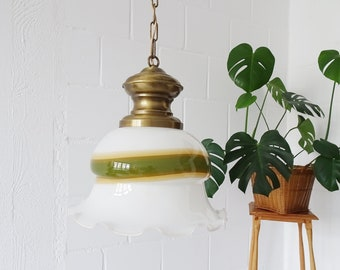 Glass hanging lamp by Peill & Putzler, pendant lamp opal glass and brass