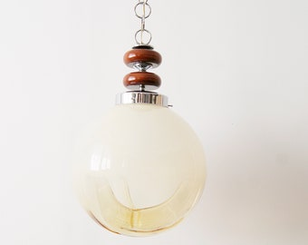Hanging lamp by Mazzega, large Italian mid-century Murano glass ceiling lamp of 35 cm, dining room lamp