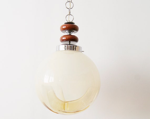 Pendant lamp by Mazzega, large Italian mid-century Murano glass ceiling lamp Ø 35 cm, dining lamp