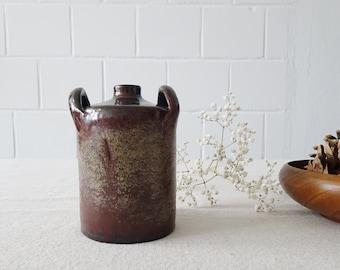 Vintage Studio Vase by Elmar and Elke Kubicek, brown studio ceramics