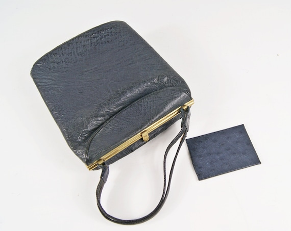 Black leather bag with mirror, simple evening bag, handle bag