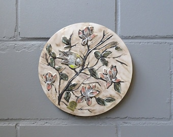 Ruscha Ceramic Wall Plate with Bird Decor, Mid Century Collectible Plate