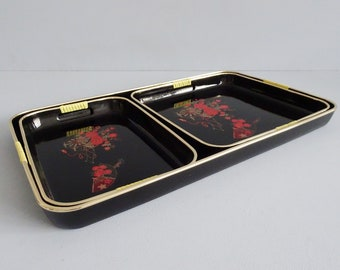 Set of three serving trays black with red and gold, Japanese serving tray, mid century serving supplies