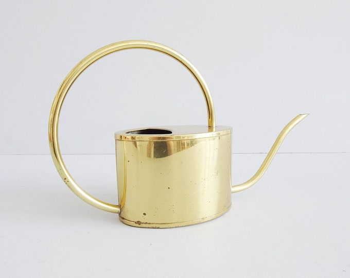 Featured listing image: golden watering can, brass jug Mid Century