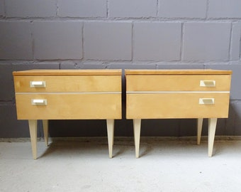 Bedside table set Mid Century bright veneered with drawer and folding compartment, night cabinets