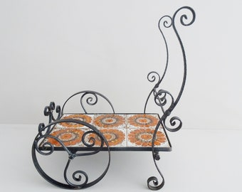large flower bench made of forged iron and ceramic tiles, flower trolley, plant stand