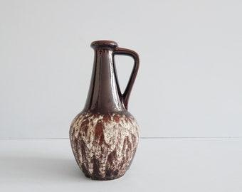 brown bay ceramic vase with handle and fat lava glaze, jug vase ceramic amphora