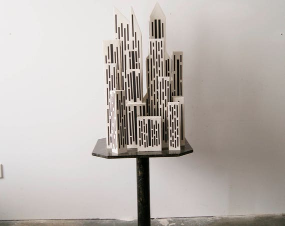 Paper mache deco object, the city, the city, recycled, handmade, art, 122 cm high on a paper mache table