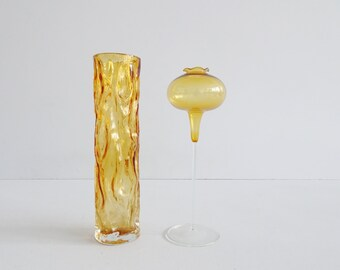 Mid Century Amber Glass Vases Set in Amber