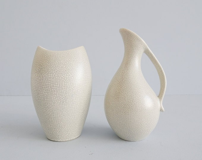 Featured listing image: Ernst Lösche Studio Ceramic Vases Set with Craquele Pattern, Minimalist Ceramic, Henkel Vase, Fishmouth Vase