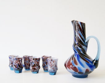 Murano Glass Carafe with Liqueur Glasses, Drinking Set, Italian Glass Art