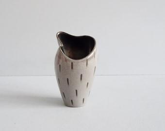 Fritz van Daalen vase grey black, studio ceramic 1960s, modernist vase
