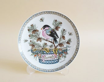 Hutschenreuther collection plate by Ole Winther month December, wall plate monthly bird steam monkey